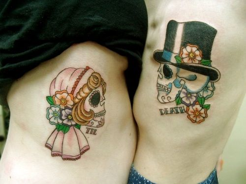 Santa Muerte tattoo, his and hers sugar skull