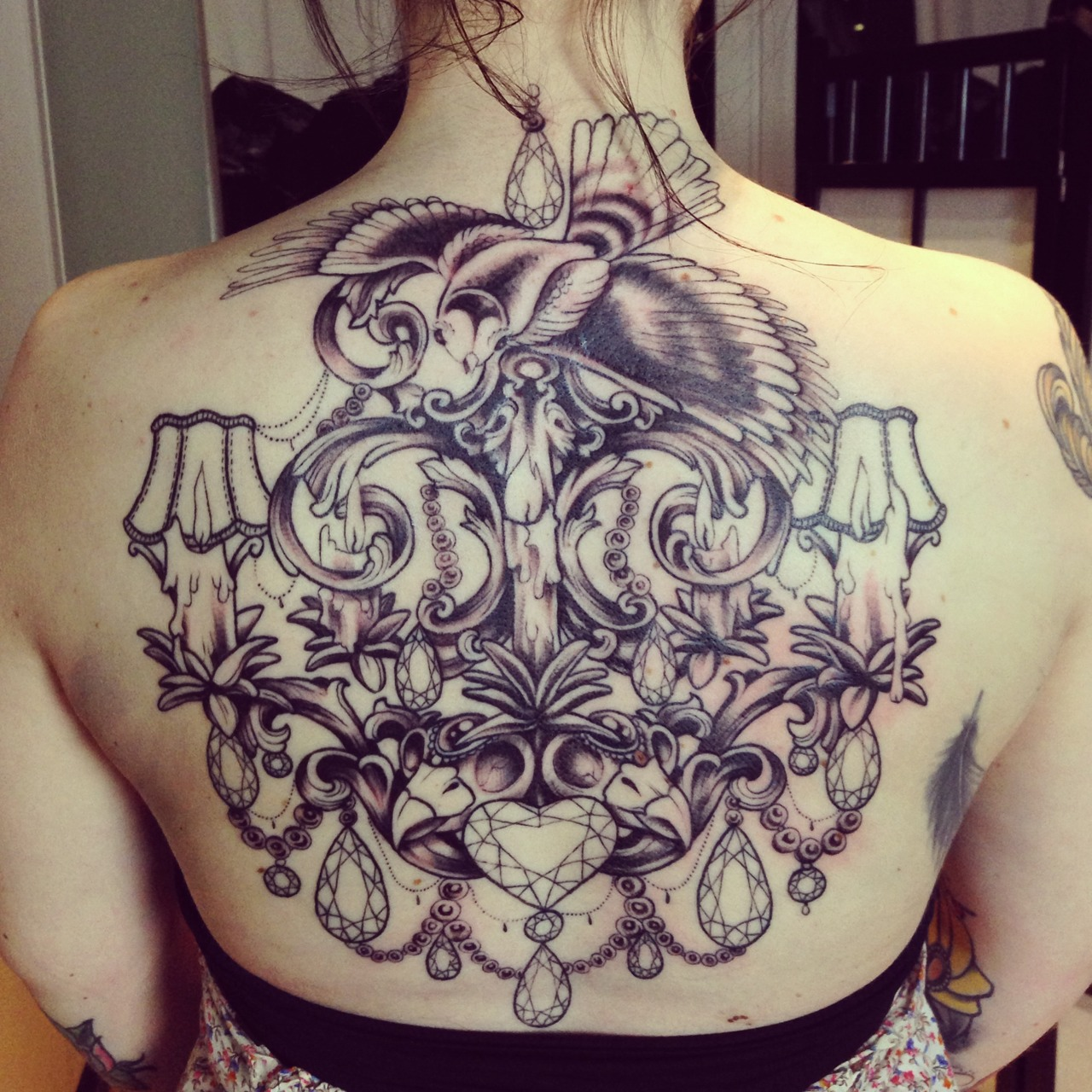 Tattooz Designs Back Tattoos: Incredible-chandelier-back-tattoo.jpg