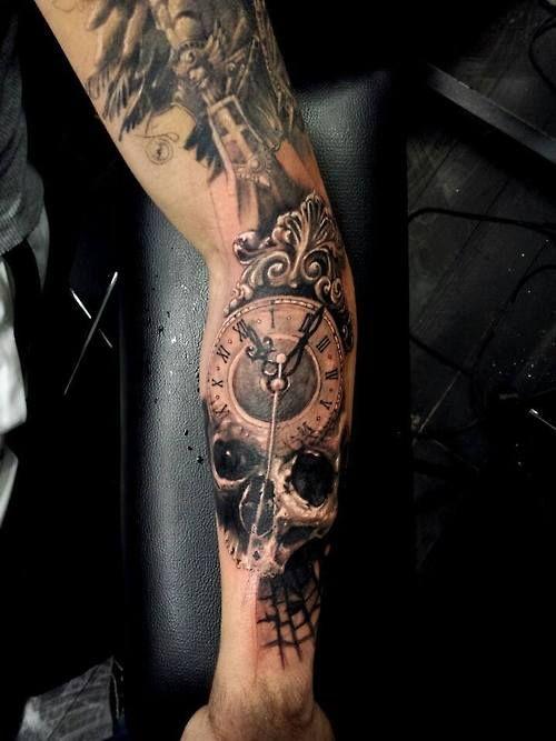 Incredible Skull Clock Arm Tattoo Tattoomagz