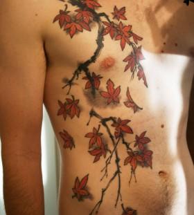 Japanese maple tree branch tattoo