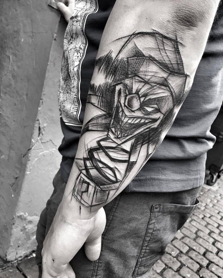 joker sketch style tattoo by ineepine