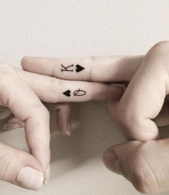 King and Queen finger tattoos
