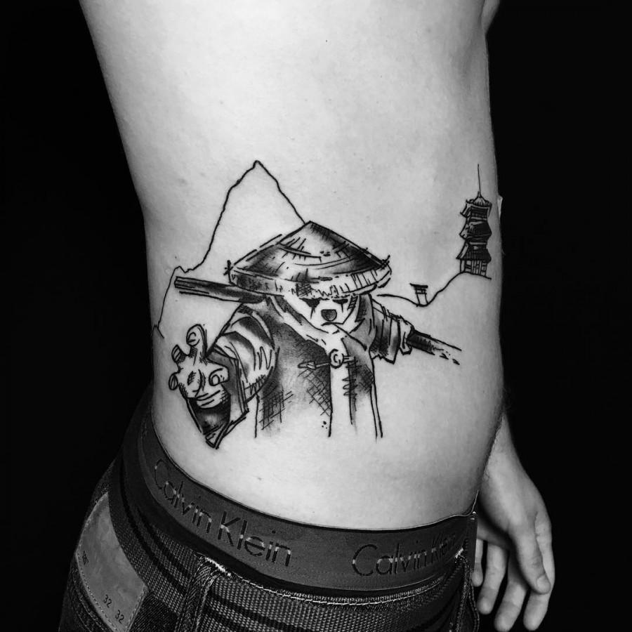 kung fu panda sketch style tattoo by sandro secchin simao