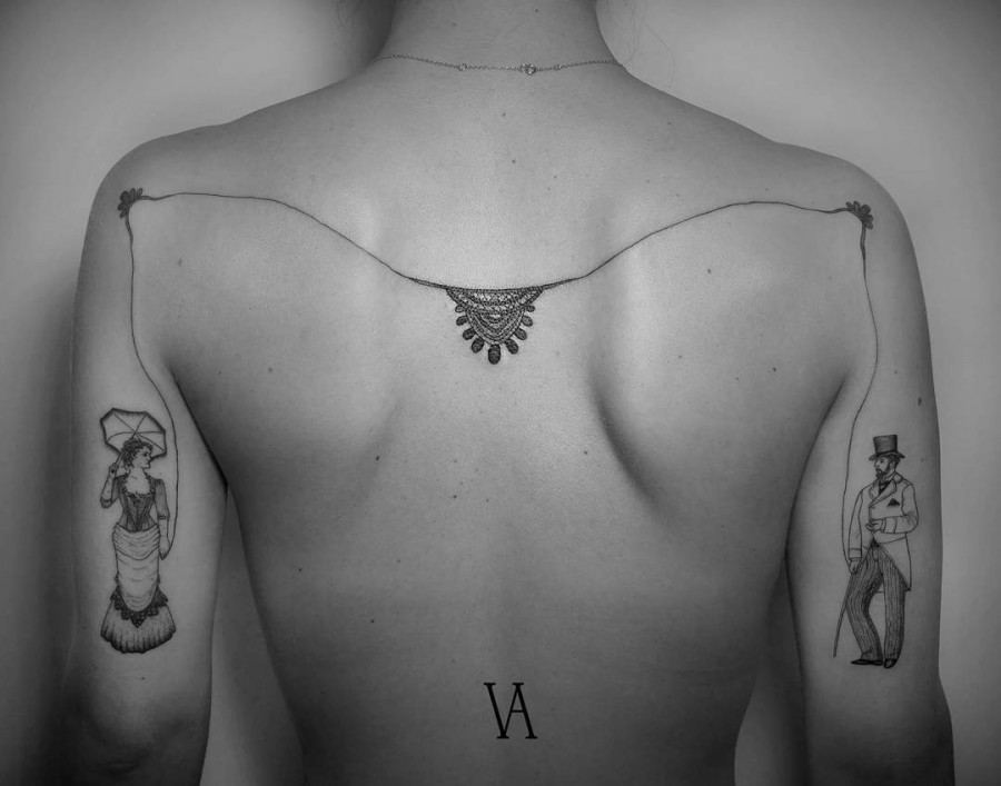 lovelt back tattoo by violeta.arus