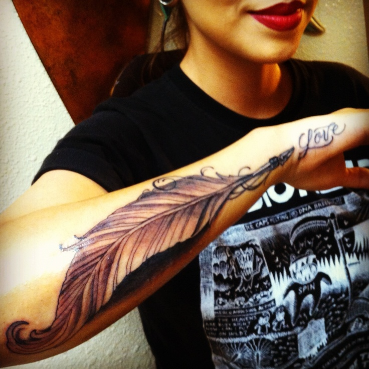 Lovely feather pen tattoo