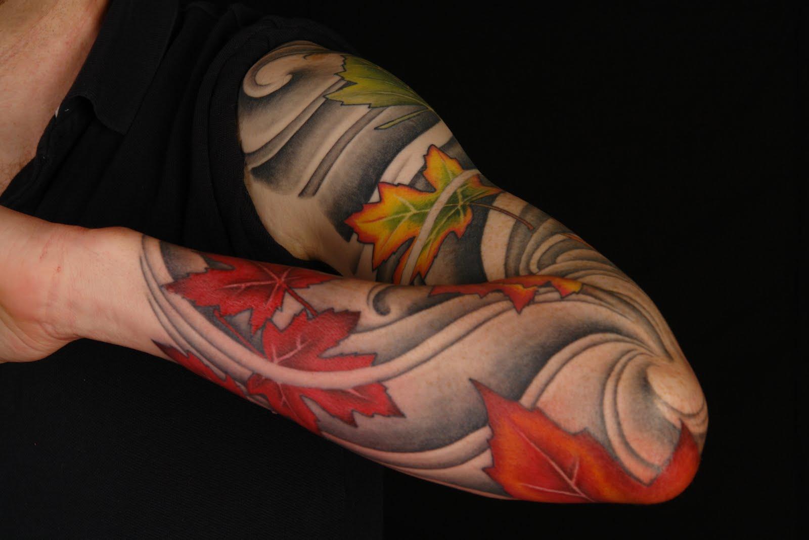 Maple Tree Tattoos: Maple-leaves-full-sleeve-tattoo.jpg