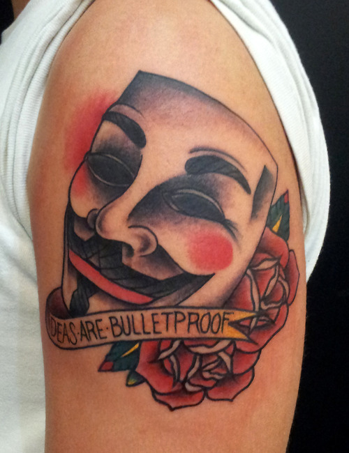 V For Vendetta Mask Tattoo Mask of V with ...