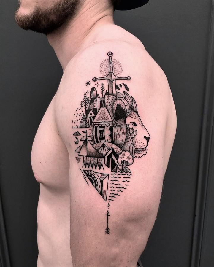 mast-cora-bleunoir-lion-blackwork-tattoo
