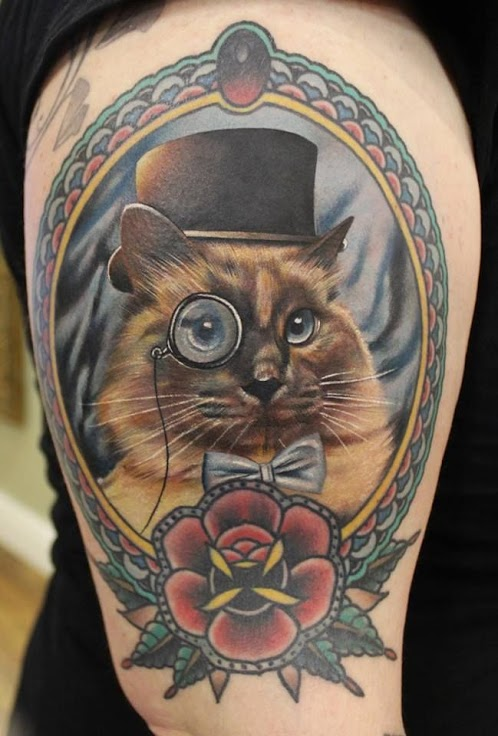 Cat portrait tattoo