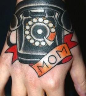 Mom and black telephone tattoo