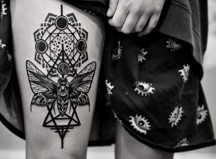 moth tattoo by black geometry
