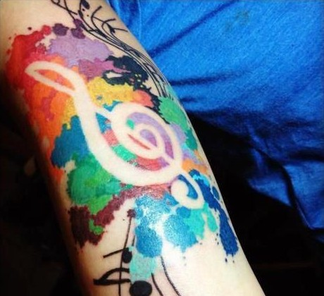 Musical watercolour tattoo
