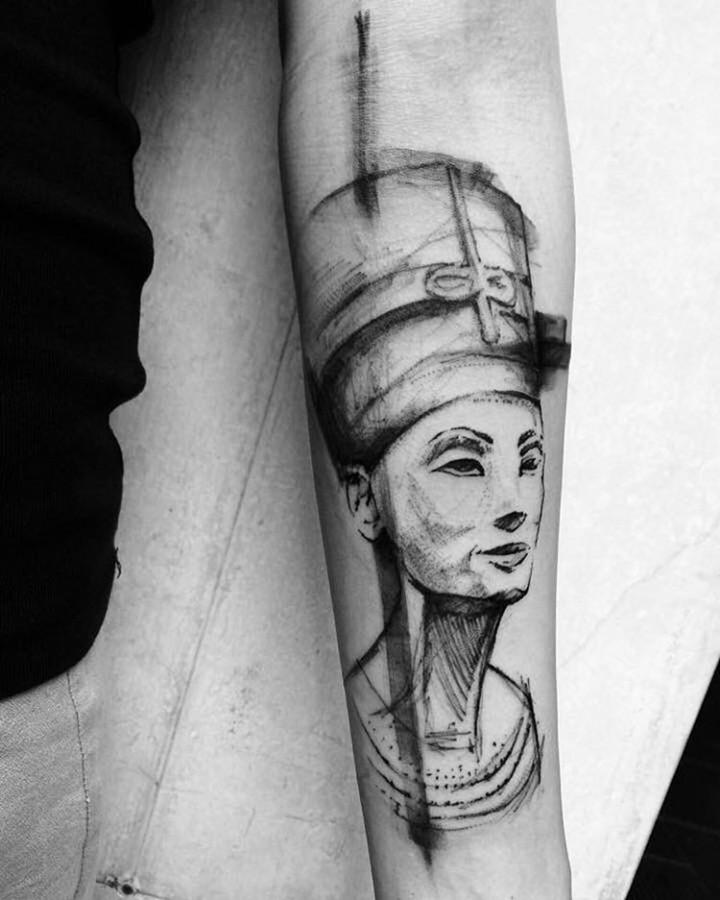 neferiti sketch style tattoo by richard blackstar