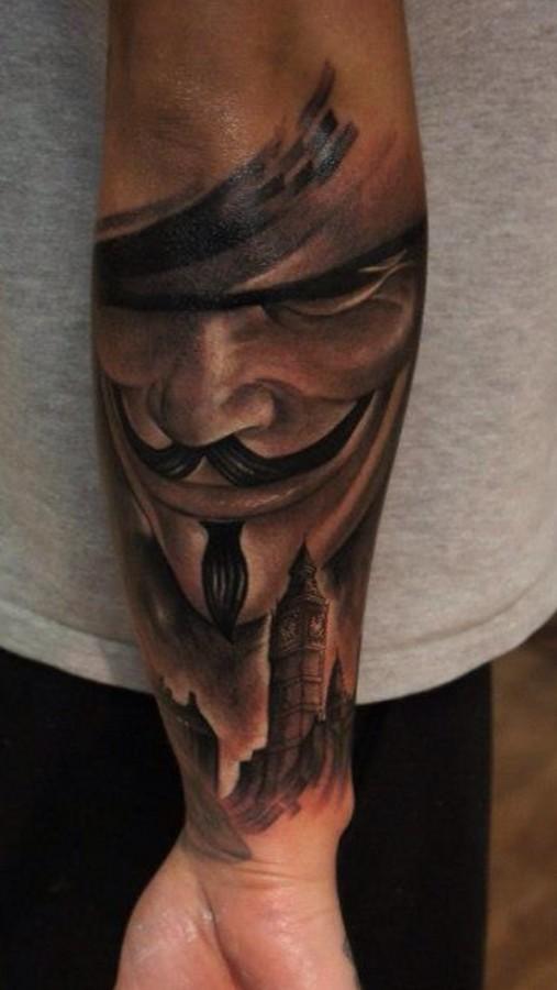 nice v for vendetta arm tattoo. Black Bedroom Furniture Sets. Home Design Ideas