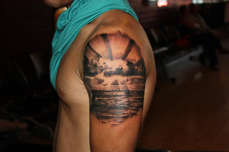 Nice sunset arm tattoo tattoomagz for Beach sunset tattoos
