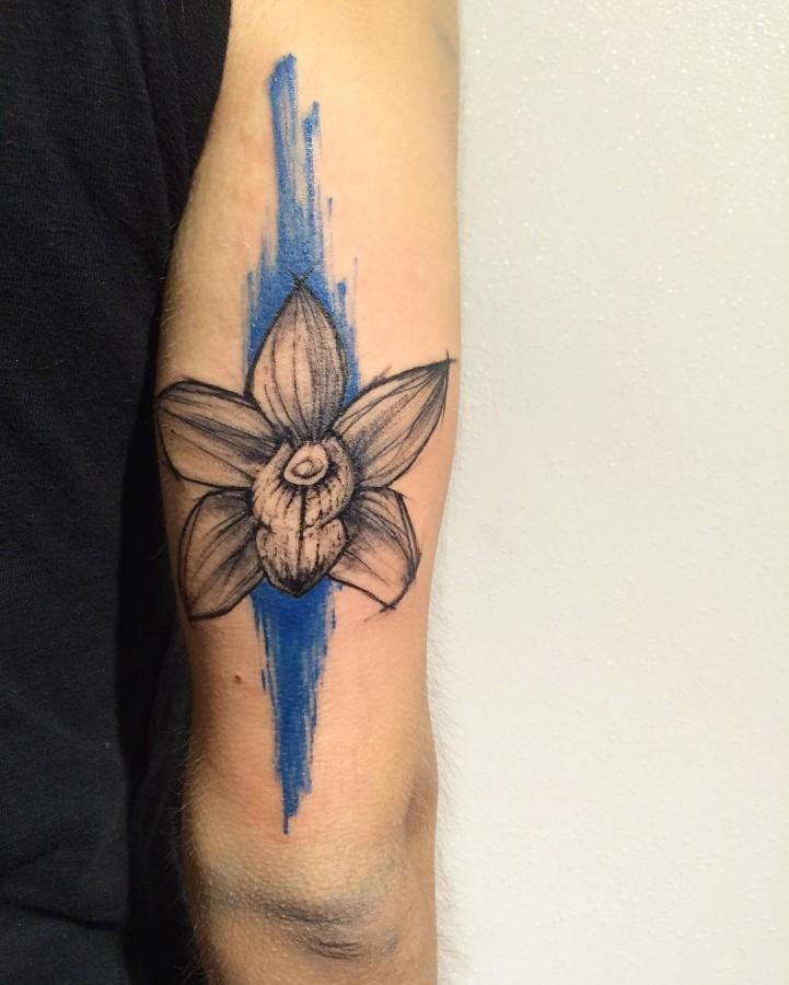 orchid sketch style tattoo by richard blackstar