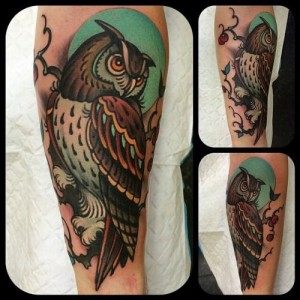 Owl tattoo on arm by W. T. Norbert