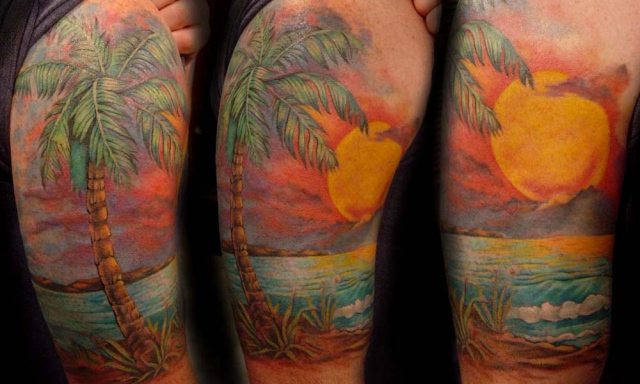 Palm tree and sunset tattoo tattoomagz for Beach sunset tattoos