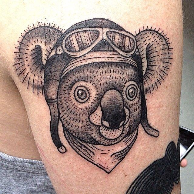 pilot koala tattoo by susanne k nig tattoomagz. Black Bedroom Furniture Sets. Home Design Ideas