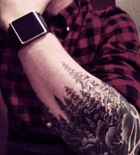 Pine tree forest tattoo