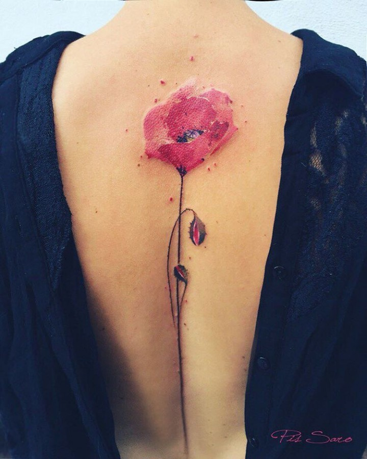 poppy flower tattoo by pis saro