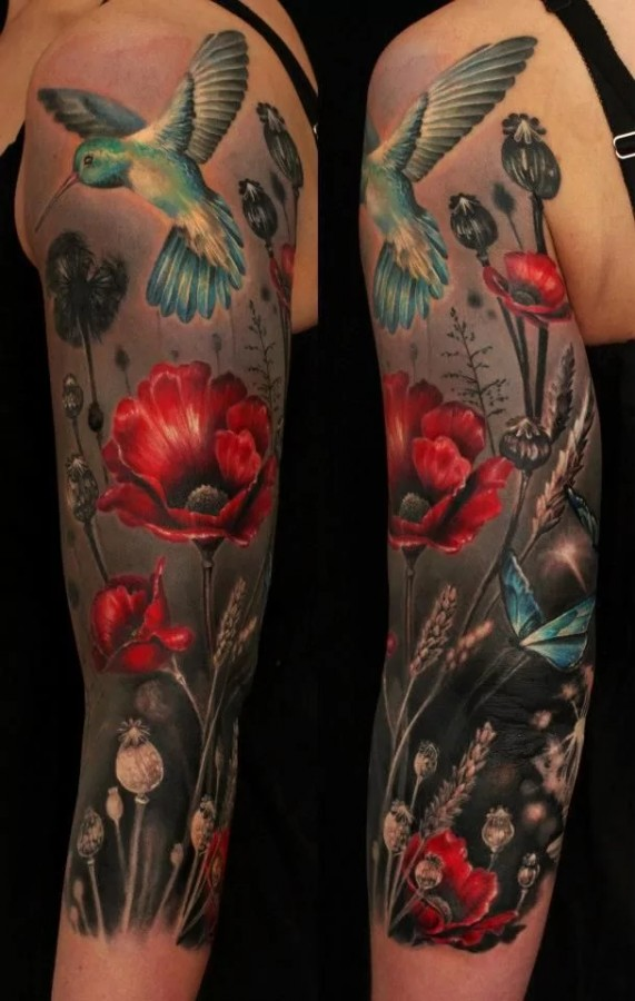 poppy sleeve tattoo by ellen westholm