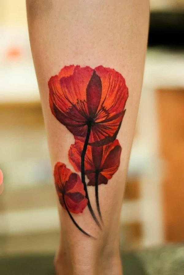 poppy tattoo by denis sivak