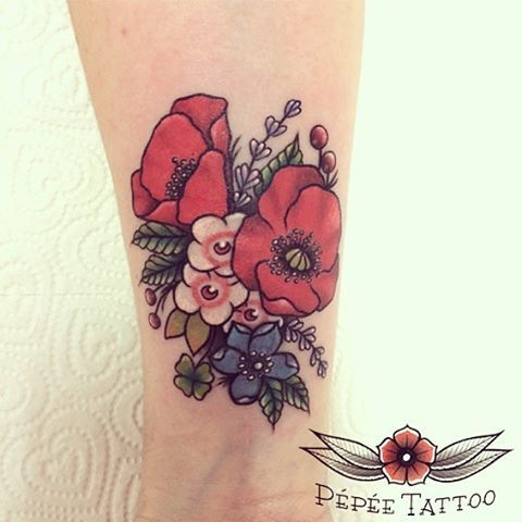 poppy tattoo by pepee tattoo