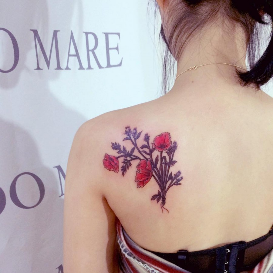 poppy tattoo by tattooist_wonseok2