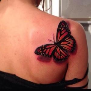 Realistic butterfly tattoo by Jon Mesa