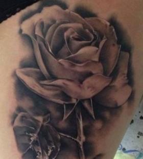 Realistic rose tattoo by Razvan Popescu