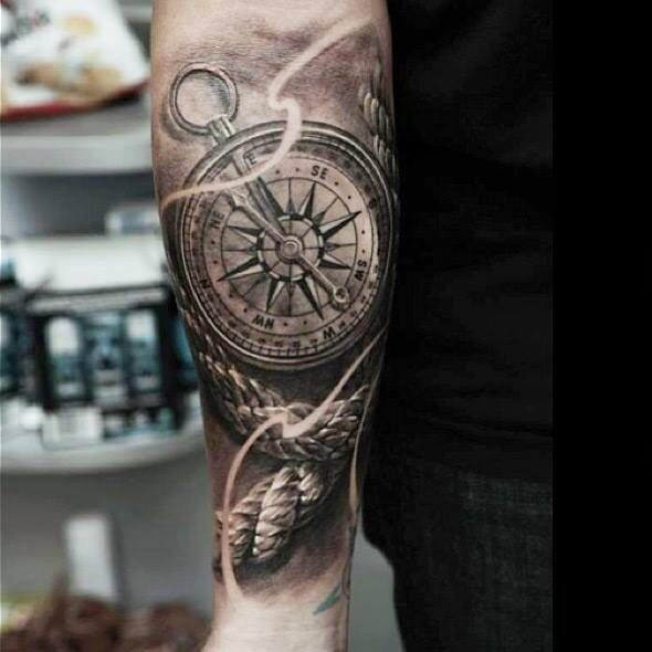 Rope and compass arm tattoo for Compass tattoo arm