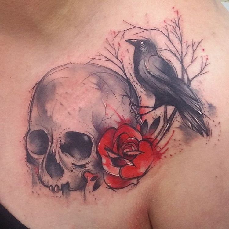 rose-skull-and-raven-tattoo-by-josie-sexton