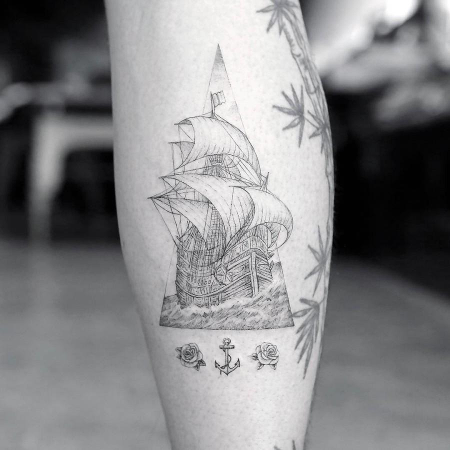 sailling ship tattoo