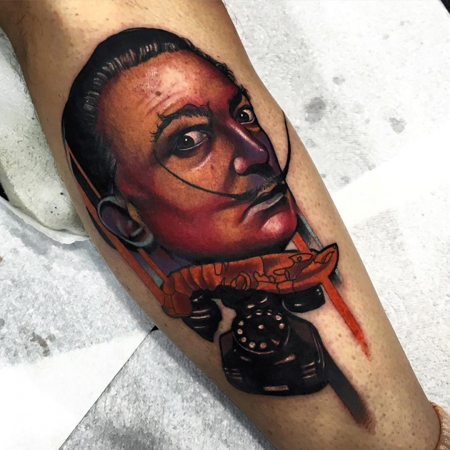 salvador dali tattoo by littleandytattoo