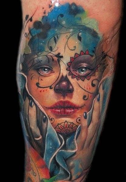 Santa Muerte faded tattoo