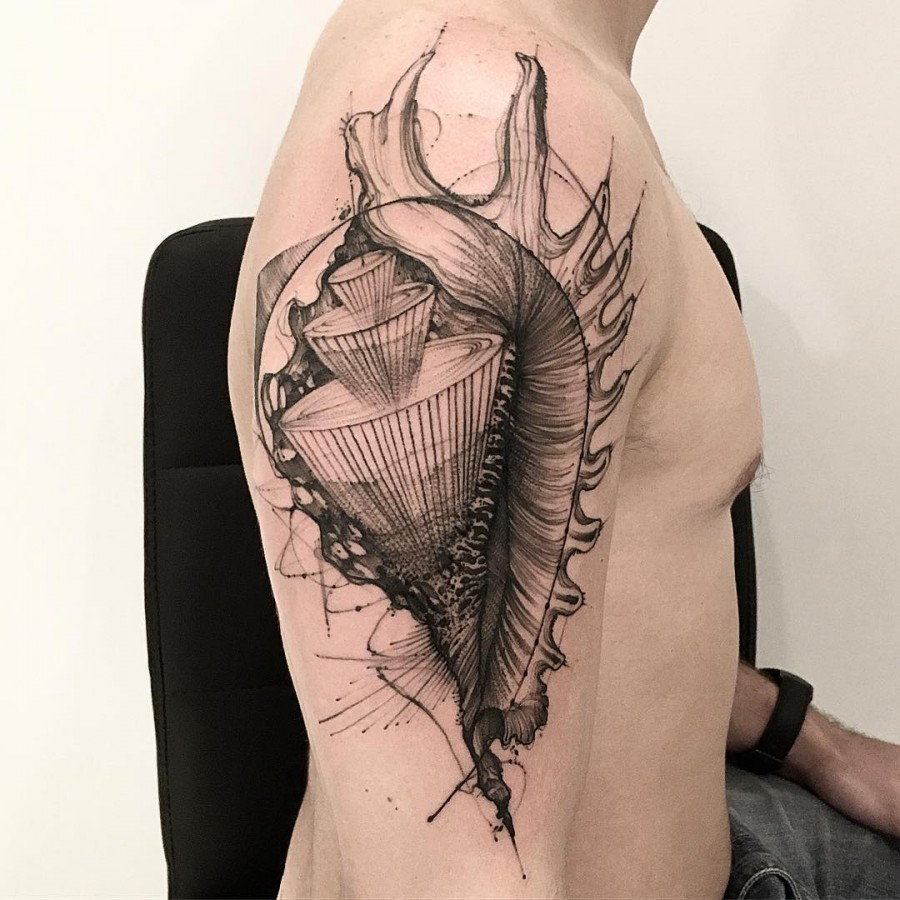 shell sketch style tattoo by victor montaghini