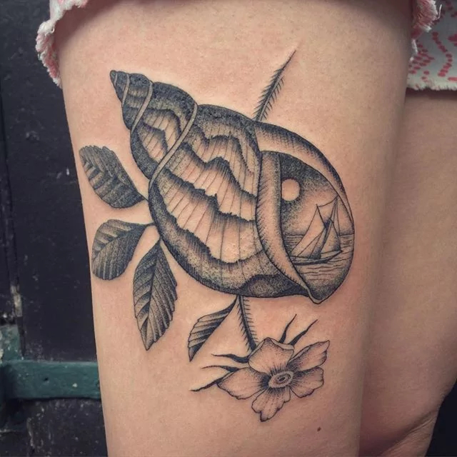 shell tattoo by justin olivier