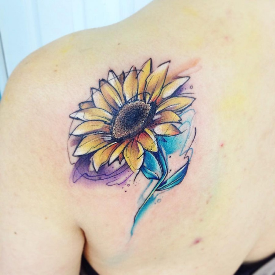 Watercolor Flower Tattoos