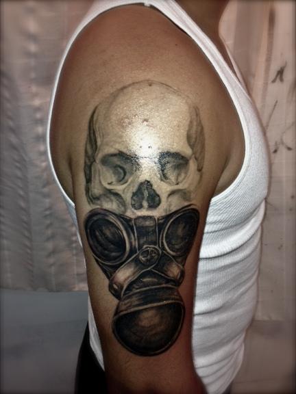 skull and gas mask tattoo tattoomagz. Black Bedroom Furniture Sets. Home Design Ideas