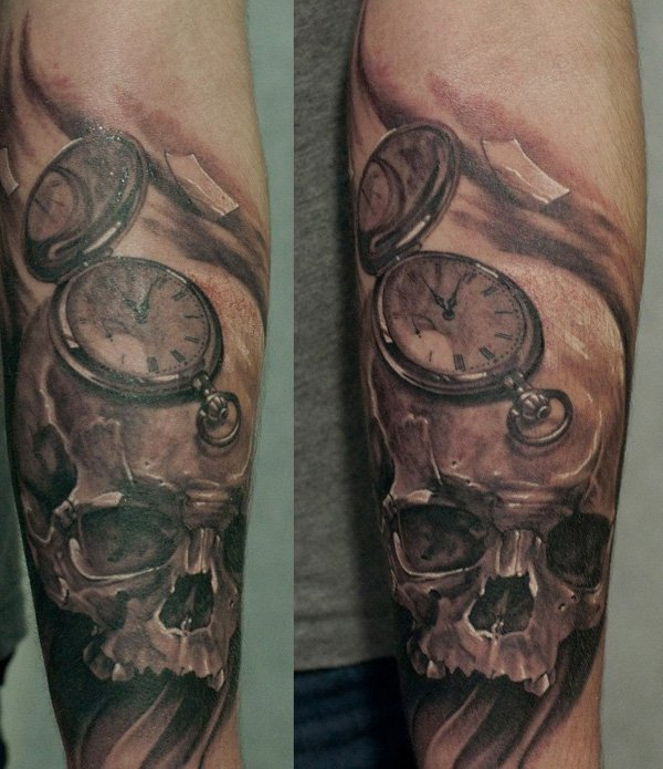 Skull And Pocket Watch Tattoo Tattoomagz