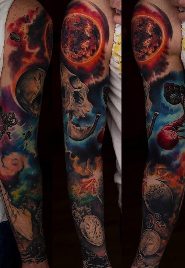 skull full sleeve tattoo by rochone1