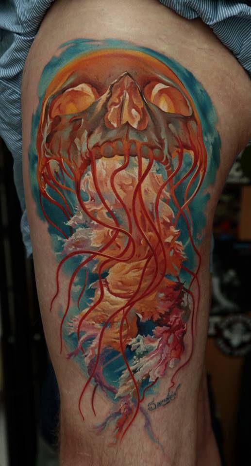 Skull jellyfish tattoo by dmitriy samohin tattoomagz for Jelly fish tattoo