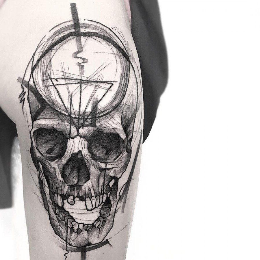 skull sketch style tattoo by frank carrilho