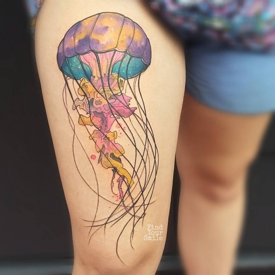 space-jellifish-watercolor-tattoo