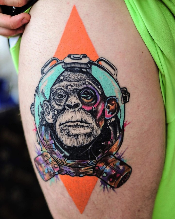 space monkey tattoo by littleandytattoo