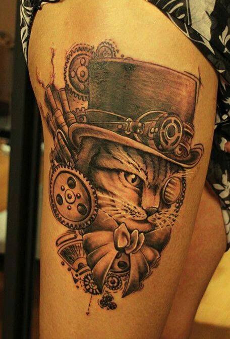 Steampunk cat tattoo