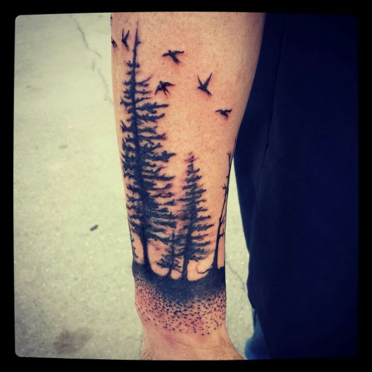 Stunning pine tree arm tattoo - TattooMagz
