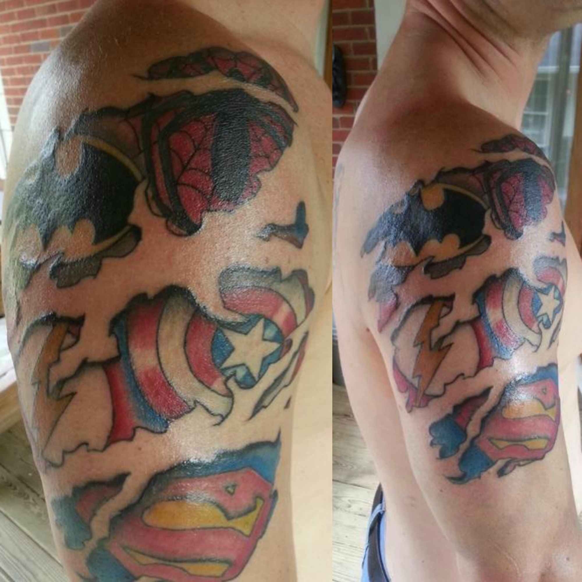 superhero logos arm tattoo tattoomagz