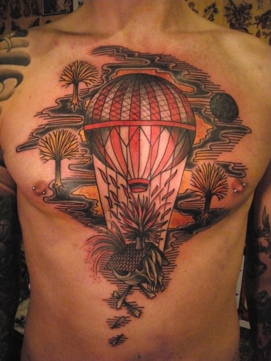 Sweet hot air balloon chest tattoo tattoomagz for Sweet chest tattoos